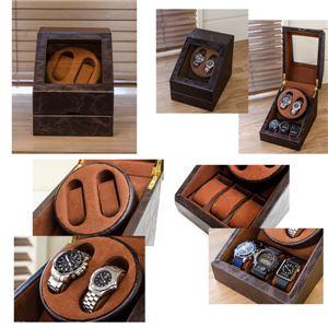 ワインディングマシーン(時計用収納ボックス) ブラウン 【1台】 合成皮革/合皮 マブチモーター使用 【完成品】 の画像