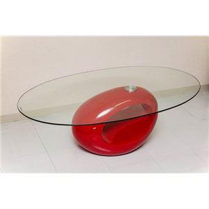 ガラスセンターテーブル/ローテーブル【レッド】幅120cm『PLANET』強化ガラス天板