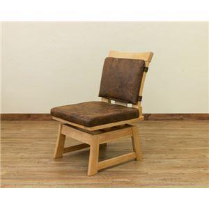ダイニングチェア/回転椅子 【1脚】 ナチュラル 『AKAGI』 座面:合成皮革(合皮) 木製脚 背もたれクッション脱着可 h02
