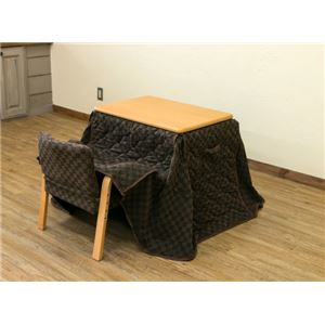 パーソナルこたつテーブル・掛け布団・椅子 【3点セット】 ナチュラル 本体:幅70cm 高さ3段階調節可 木目調 - 拡大画像