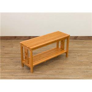 玄関ベンチチェア(腰掛け椅子/シューズラック) 幅80cm ブラウン 『CLOVER』 木製 収納棚付き h02