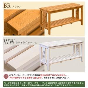 玄関ベンチチェア(腰掛け椅子/シューズラック) 幅80cm ブラウン 『CLOVER』 木製 収納棚付き f06