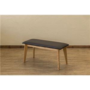 木目調ダイニングベンチ/食卓椅子【ナチュラル】木製脚張地:合成皮革/合皮『VELA』