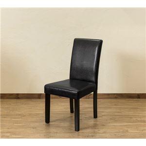 【アウトレット品】 PUダイニングチェア/食卓椅子 【同色2脚入り ブラック】 張地:合成皮革/合皮 - 拡大画像