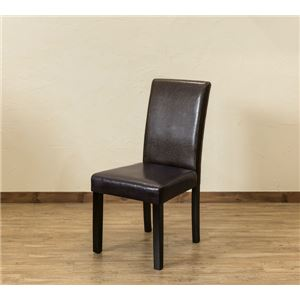 【アウトレット品】 PUダイニングチェア/食卓椅子 【同色2脚入り ブラウン】 張地:合成皮革/合皮 - 拡大画像