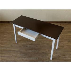 引き出し付きテーブル/パソコンデスク 【幅120cm×奥行45cm】 ダークブラウン 木脚 『Amelia』