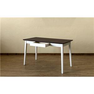 引き出し付きテーブル/パソコンデスク 【幅120cm×奥行60cm】 ダークブラウン 木脚 『Amelia』