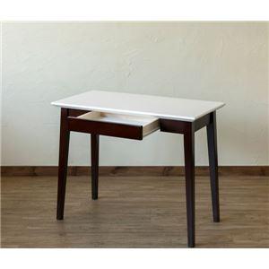 引き出し付きテーブル/パソコンデスク 【幅90cm×奥行45cm】 ホワイトウォッシュ 木脚 『Amelia』