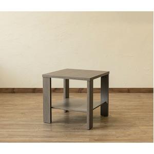 木目調サイドテーブル/ローテーブル 【正方形 幅50cm×奥行50cm】 アンティークブラウン 収納棚付き 『KENNY』