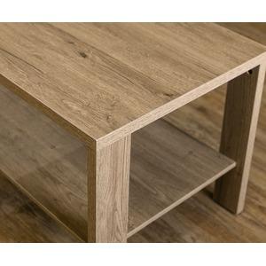 木目調センターテーブル/ローテーブル 【幅100cm×奥行50cm】 ライトブラウン 収納棚付き 『KENNY』 の画像