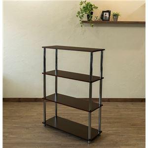 Simple 収納ラック/収納棚 【幅80cm 4段】 ウォールナット 〔キッチン収納 リビング収納 ディスプレイ家具 什器〕 の画像