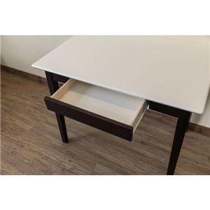 【在庫処分品】引き出し付きテーブル/パソコンデスク 【幅90cm×奥行60cm】 ホワイトウォッシュ 木脚 『Amelia』