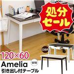 【在庫処分品】引き出し付きテーブル/パソコンデスク 【幅120cm×奥行60cm】 ホワイトウォッシュ 木脚 『Amelia』の画像
