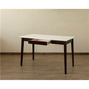 【在庫処分品】引き出し付きテーブル/パソコンデスク 【幅120cm×奥行60cm】 ホワイトウォッシュ 木脚 『Amelia』