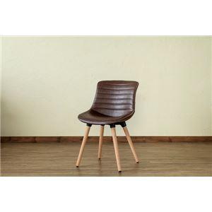 レトロ風 ダイニングチェア/食卓椅子 【ブラウン】 幅46cm 重さ5.3kg 木製脚付き 合成皮革/合皮 『Verona』 〔リビング〕
