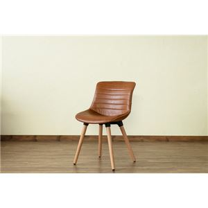 レトロ風 ダイニングチェア/食卓椅子 【キャメル】 幅46cm 重さ5.3kg 木製脚付き 合成皮革/合皮 『Verona』 〔リビング〕