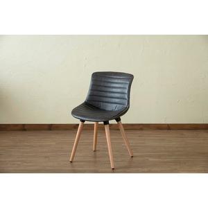 レトロ風 ダイニングチェア/食卓椅子 【グレー】 幅46cm 重さ5.3kg 木製脚付き 合成皮革/合皮 『Verona』 〔リビング〕
