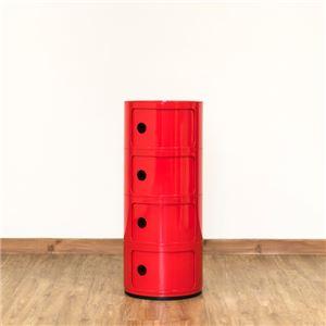 多用途 ラウンドチェスト/キッチン収納 【4段 レッド】 幅32cm 重さ5.5kg 扉付 ABS樹脂 『コンポニビリ』 〔台所 ダイニング〕