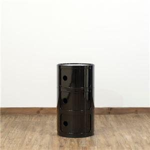多用途 ラウンドチェスト/キッチン収納 【3段 ブラック】 幅32cm 重さ5.5kg 扉付 ABS樹脂 『コンポニビリ』 〔台所 ダイニング〕