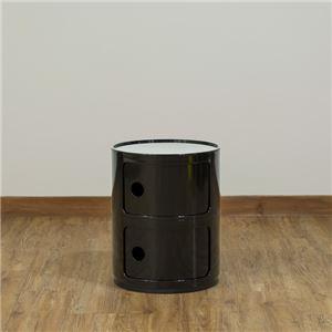 多用途 ラウンドチェスト/キッチン収納 【2段 ブラック】 幅32cm 重さ5.5kg 扉付 ABS樹脂 『コンポニビリ』 〔台所 ダイニング〕