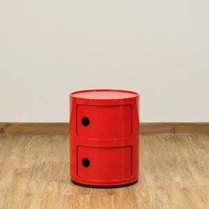 多用途 ラウンドチェスト/キッチン収納 【2段 レッド】 幅32cm 重さ5.5kg 扉付 ABS樹脂 『コンポニビリ』 〔台所 ダイニング〕