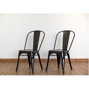 ダイニングチェア/食卓椅子 2脚セット 【ブラック】 幅44.5cm スチール製 スタッキング可 『マリーンチェア』 〔カフェ〕
