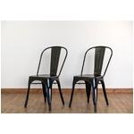 ダイニングチェア/食卓椅子 2脚セット 【ブラック】 幅44.5cm スチール製 スタッキング可 『マリーンチェア』 〔カフェ〕 の画像
