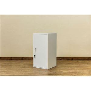 ハイタイプ 鍵付きロッカー/収納ラック 【ホワイト】 幅38cm スチール カギ×2個 棚板 転倒防止器具付き 連結可 『キューブBOX』