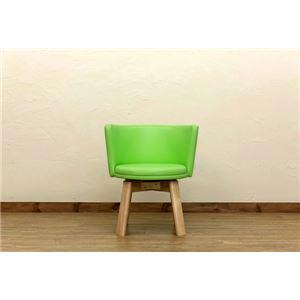 回転式 カフェチェア/ダイニングチェア 【グリーン】 幅58.5cm 重さ9.8kg 木製脚付き 合成皮革/合皮 『BRIGIT』の画像1