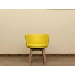 回転式 カフェチェア/ダイニングチェア 【イエロー】 幅58.5cm 重さ9.8kg 木製脚付き 合成皮革/合皮 『BRIGIT』