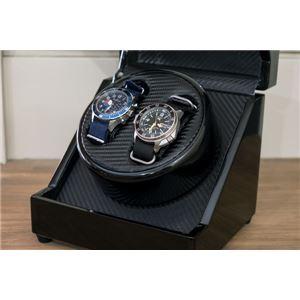 腕時計用 ワインディングマシーン 【2本巻 ブラック】 幅18.5cm 電源スイッチ アダプター 脚付き 【完成品】