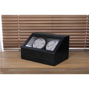 腕時計用 ワインディングマシーン 【4本巻 ブラック】 幅34cm 電源スイッチ アダプター 脚付き 【完成品】