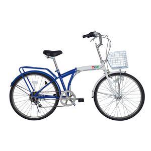 【ノーパンクタイヤ使用】TOY(トイ) 24インチ ノーパンク折り畳み自転車 ブルーホワイト MG-TY246N - 拡大画像