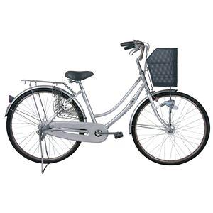 【ノーパンクタイヤ使用】26インチ ノーパンク軽快車自転車(内装3段ギア付) シルバー MG-TCG263N - 拡大画像