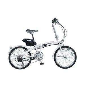 20インチ6段ギア付アシスト折畳自転車(ホワイト) - 拡大画像
