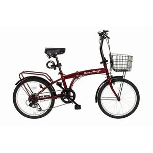 折りたたみ自転車【シマノ製6段ギア20インチ】クラシックレッドワイヤーロックLEDライトカゴ付き『ClassicMimugo』