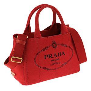 Prada (プラダ) 1BG439 CANAPA/ROSSO 手提げバッグ