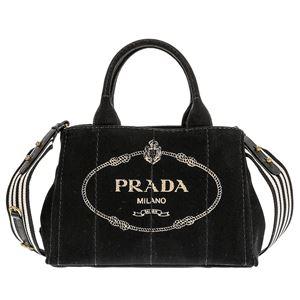 Prada (プラダ) 1BG439 CANAPA ROO/NERO/TALCO 手提げバッグ