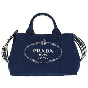 Prada (プラダ) 1BG642 CANAPA ROO/BLUETTE/TALC 手提げバッグ