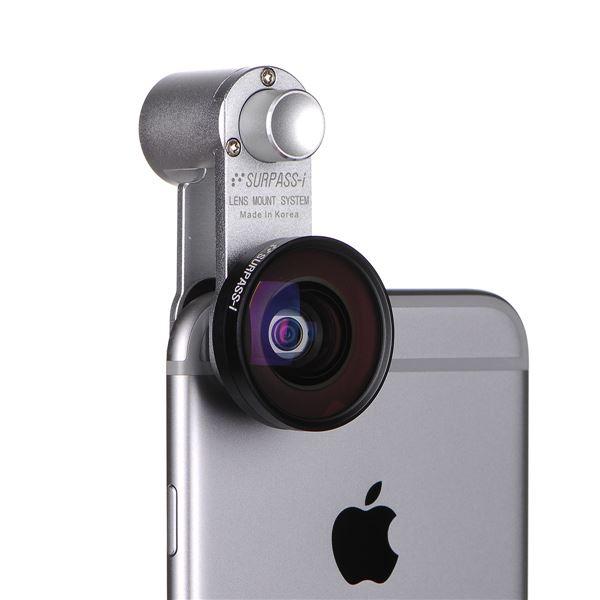 各種スマートフォン対応【セルカレンズ】セルカレンズマウント SURPASS-i 広角レンズセット(Wide Silver)f00