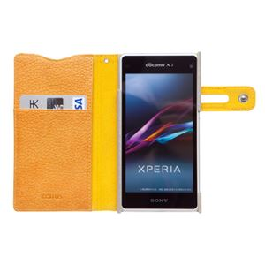 docomo 【Xperia A2/Xperia Z1f】ZENUS Prestige Color Edge Diary (プレステージカラーエッジダイアリー) スナップボタン サフィアーノ革(lightgold) h03