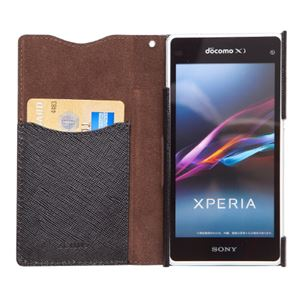 docomo 【Xperia A2/Xperia Z1f】ZENUS Prestige Minimal Diary (プレステージミニマルダイアリー) ボタンなし サフィアーノ革(black) h03