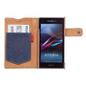 docomo 【Xperia A2/Xperia Z1f】ZENUS Denim Vintage Pocket Diary(デニムビンテージポケットダイアリー) スナップボタン デニム、イタリアン本革(Vintage Pocket) h03