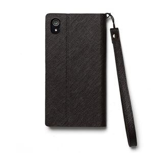 【Xperia Z2】Zenus Prestige Minimal Diary (プレステージミニマルダイアリー) サフィアーノ革 ボタンなし スタンド機能付 ストラップ付(black) h02