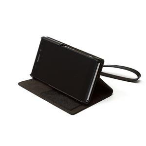 【Xperia Z2】Zenus Prestige Minimal Diary (プレステージミニマルダイアリー) サフィアーノ革 ボタンなし スタンド機能付 ストラップ付(black) h03