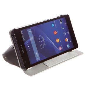 【Xperia ZL2 ケース】Zenus Prestige Minimal Diary (プレステージミニマルダイアリー) サフィアーノ革 ボタンなし スタンド機能付 卓上ホルダ対応(white) f04