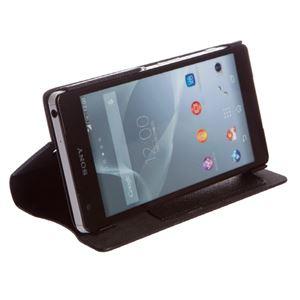 【Xperia ZL2 ケース】Zenus Prestige Minimal Diary (プレステージミニマルダイアリー) サフィアーノ革 ボタンなし スタンド機能付 卓上ホルダ対応(black) f04