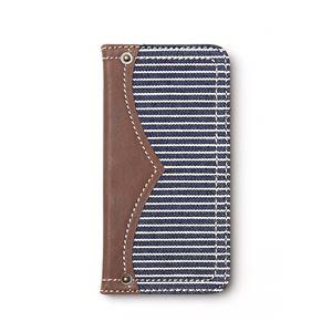iPhone6s ケース 手帳型 ZENUS Denim Stripe Diary(ゼヌス デニムストライプダイアリー)アイフォン iPhone6(navy) h01