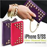 GAZE iPhone5/5s Glitter Diamond Diary パープル