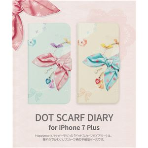 Happymori iPhone7 Plus Dot Scarf Diary ピンクスカーフ